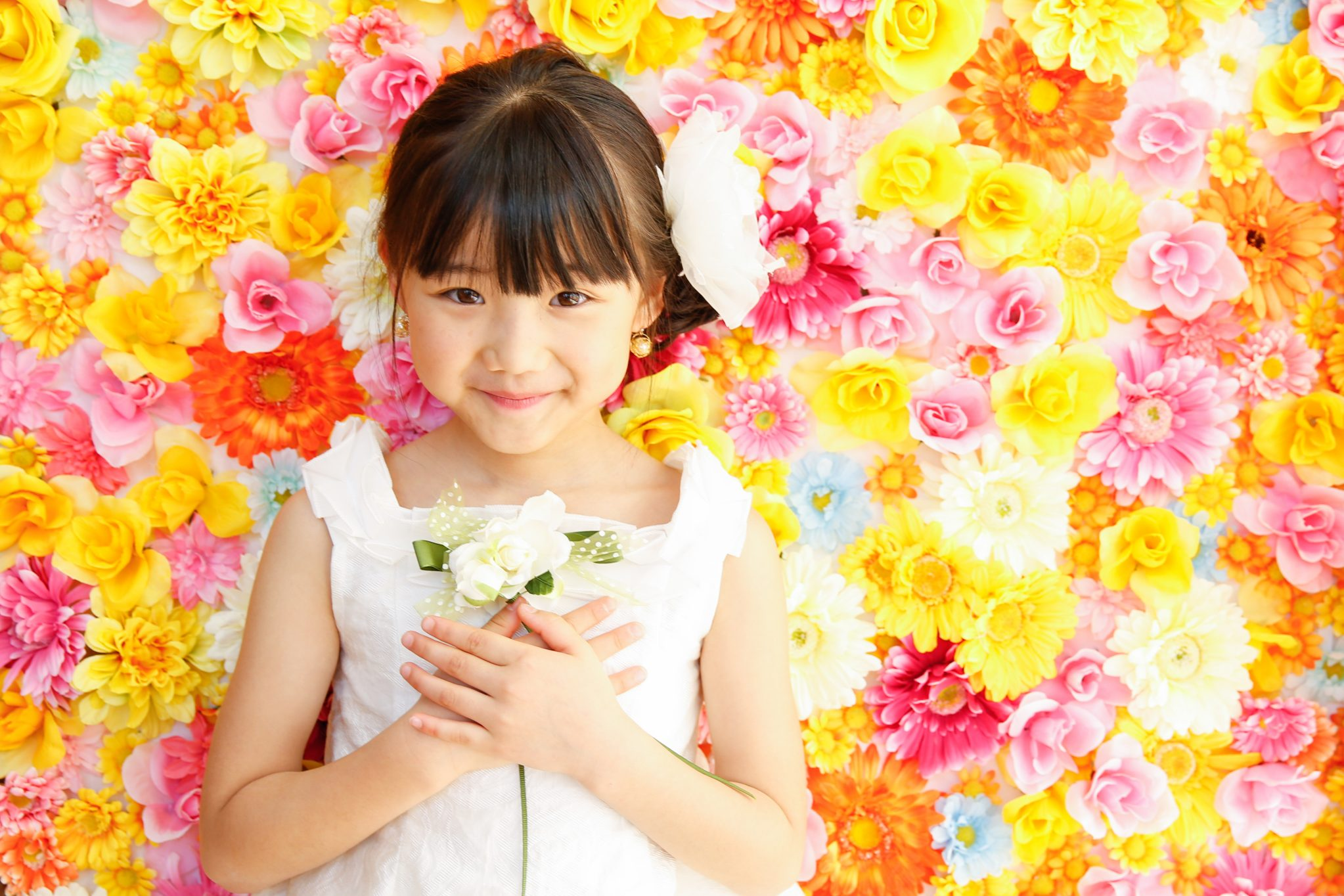 お花いっぱいの記念写真