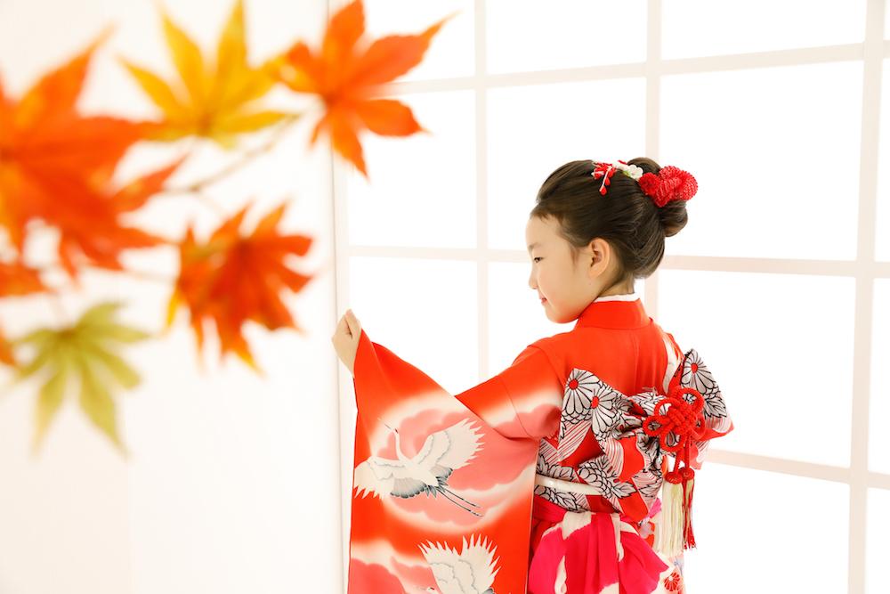 日本髪で7歳の七五三の記念写真