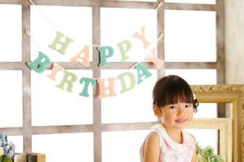 ハウススタジオでバースデーフォト 女の子のお誕生日記念写真 プレシュスタジオ撮影写真