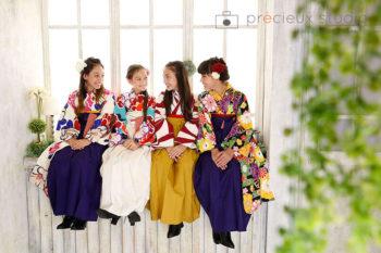 女の子4人で卒業袴撮影
