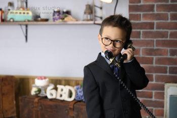 ハウススタジオでバースデーフォト 6歳の男の子のお誕生日記念写真 プレシュスタジオ撮影写真