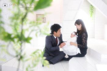 家族でお宮参りの記念撮影写真 プレシュスタジオ撮影写真