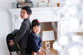 兄妹で入学入園記念写真