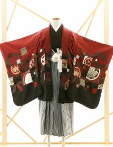 七五三レンタル衣装 男子着物袴 赤に黒のお着物