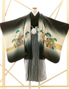 七五三レンタル衣装 男子着物袴 黒に白のお着物