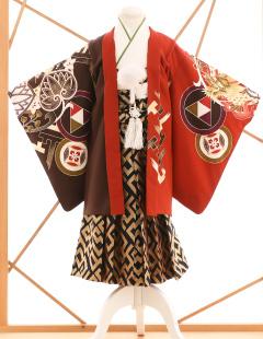 七五三レンタル衣装 男子着物袴 赤に柄のお着物