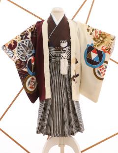 七五三レンタル衣装 男子着物袴 白とえんじのお着物