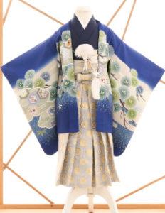 七五三レンタル衣装 男子着物袴 青に柄のお着物
