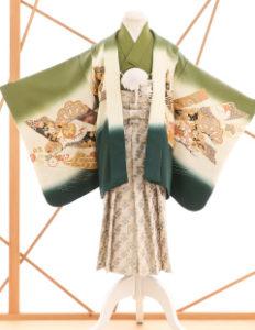 七五三レンタル衣装 男子着物袴 緑に柄のお着物