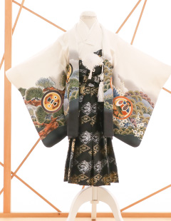 七五三レンタル衣装 男子着物袴 白に柄のお着物