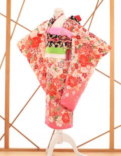 七五三レンタル衣装 女子着物 ピンクの花柄