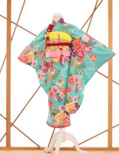 七五三レンタル衣装 女子着物 水色に花柄