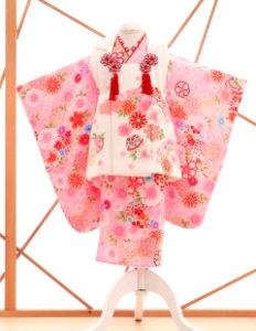 七五三レンタル衣装 女子着物 ピンクの花柄被布