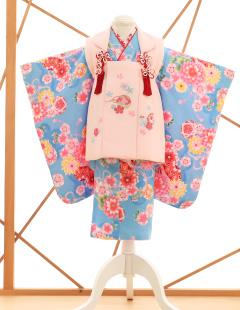 七五三レンタル衣装 女子着物 水色にピンクの被布