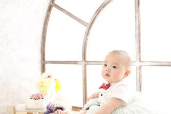 チュチュと蝶ネクタイのハーフバースデーの赤ちゃん写真