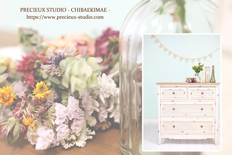 プレシュスタジオ千葉駅前店の撮影セット内装 お花とガーランド