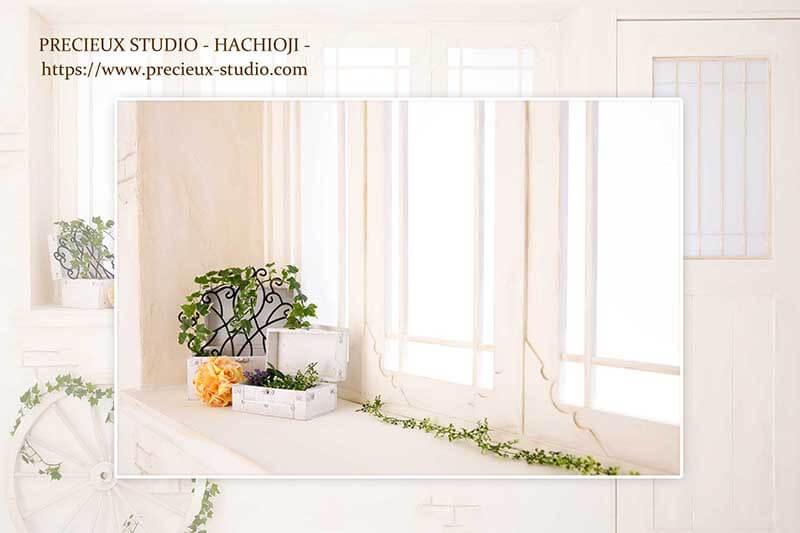 プレシュスタジオ八王子店の撮影セット内装 明るいお部屋とグリーン