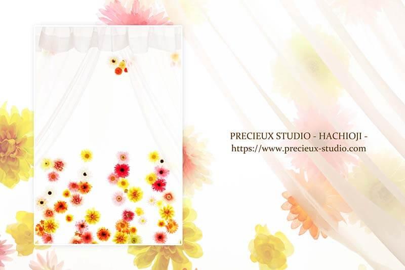 プレシュスタジオ八王子店の撮影セット内装 お花のカーテン
