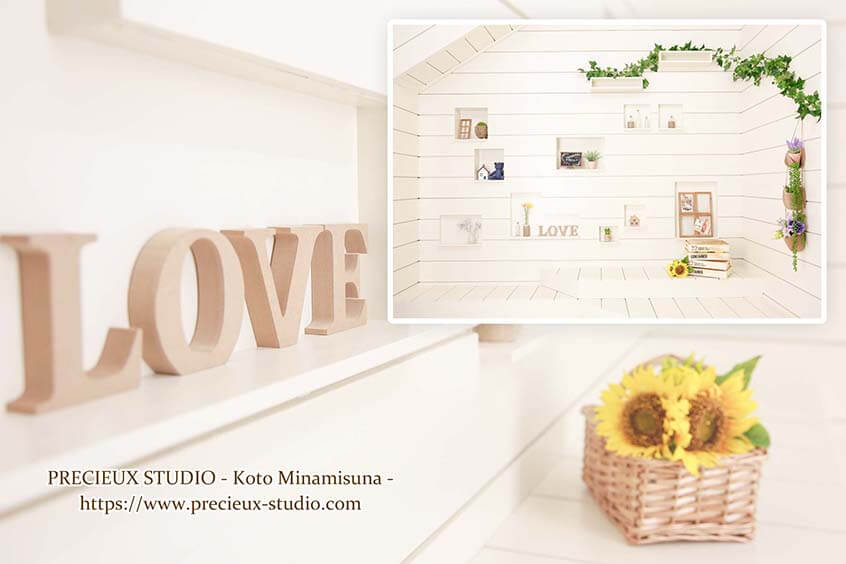 プレシュスタジオ江東南砂店の撮影セット内装 ひまわりと緑