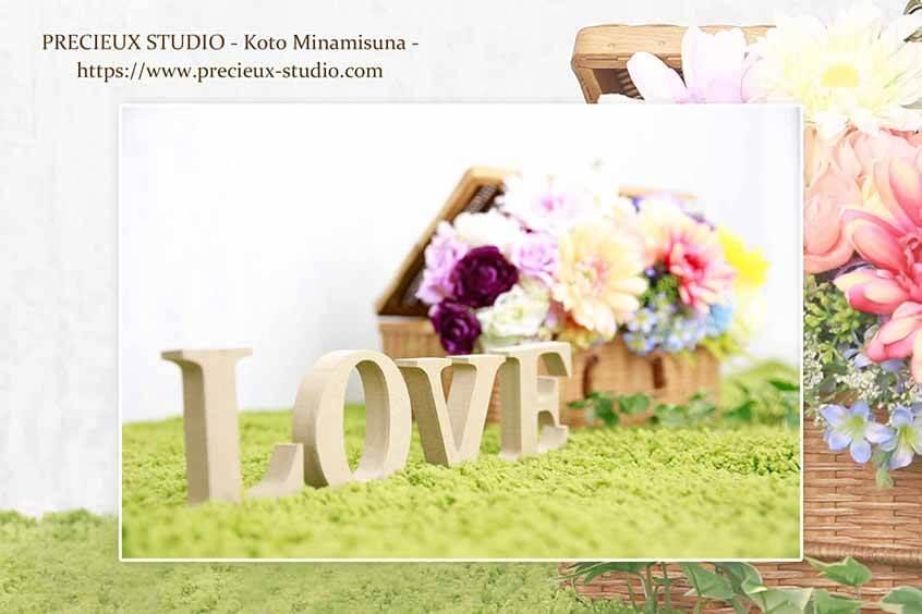 プレシュスタジオ江東南砂店の撮影セット内装 お花と芝生のセット