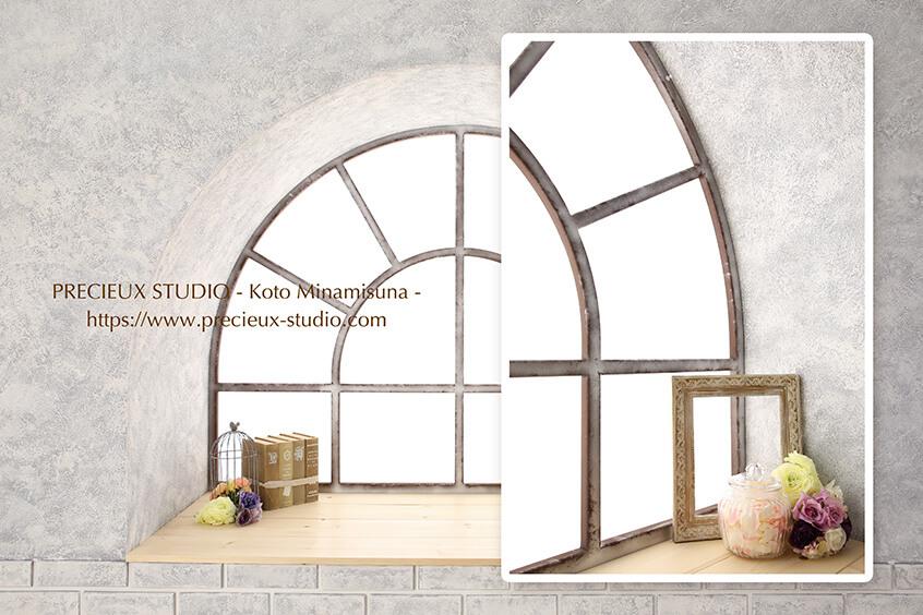 プレシュスタジオ江東南砂店の撮影セット内装 明るい窓