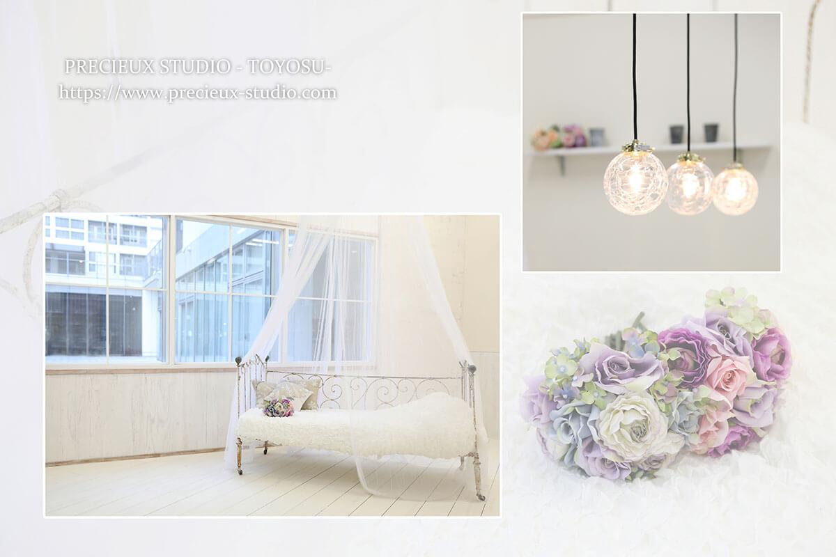 プレシュスタジオ豊洲店の撮影セット内装 明るいお部屋