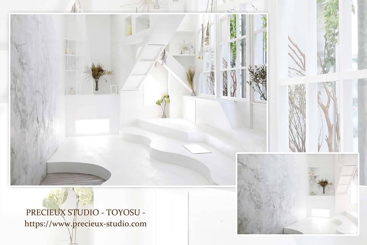 プレシュスタジオ豊洲店の撮影セット内装 白いニューマリンのお部屋