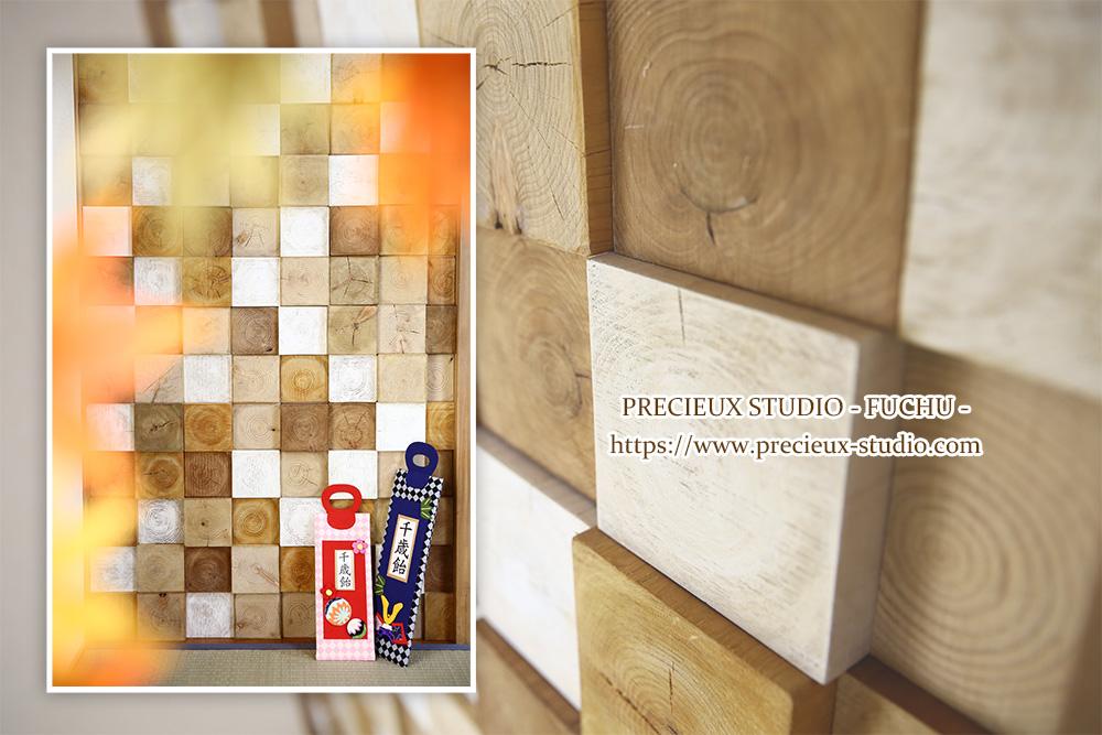 プレシュスタジオ府中店の撮影セット内装 七五三の千歳飴