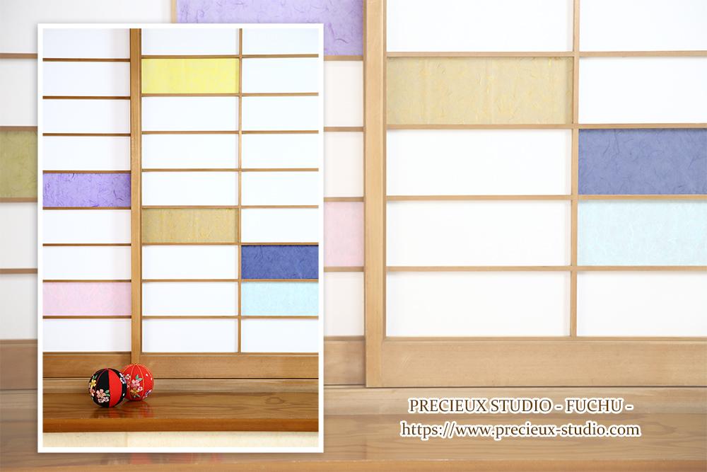 プレシュスタジオ府中店の撮影セット内装 カラフルなふすまの和室