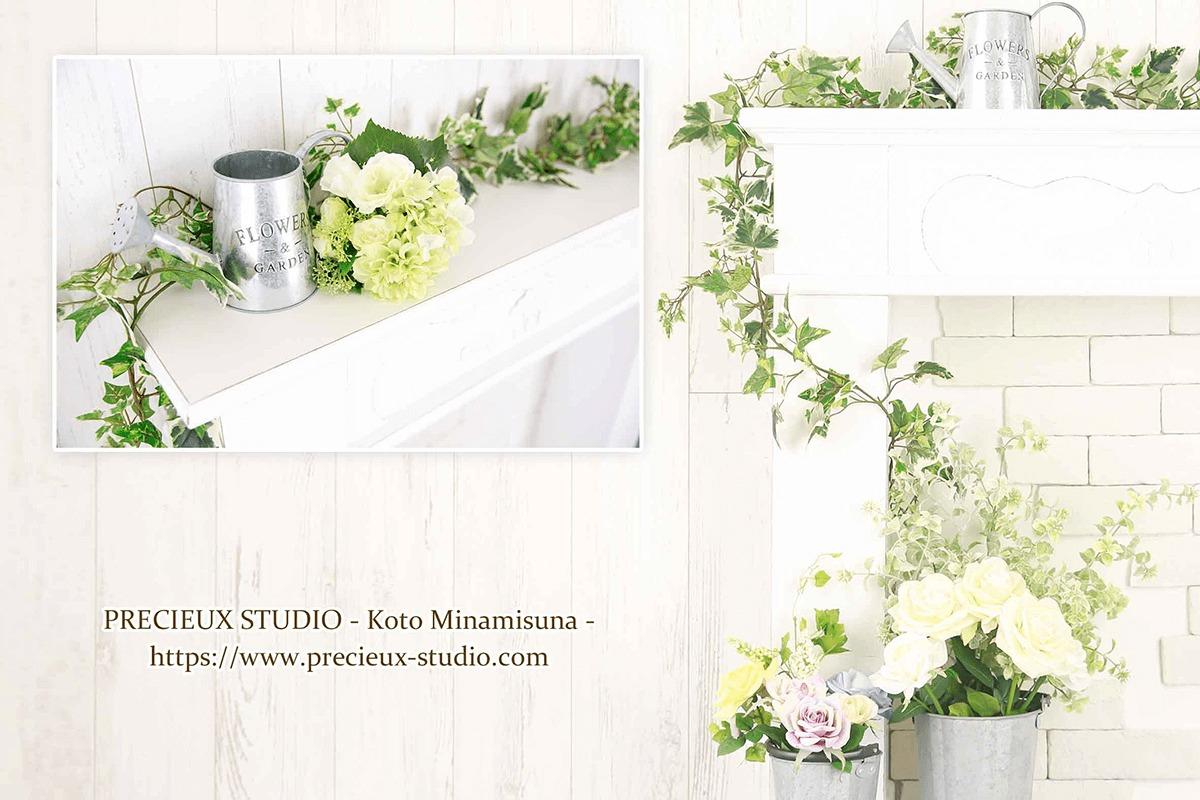 プレシュスタジオ江東南砂店の撮影セット内装 白い壁とアイビーの緑