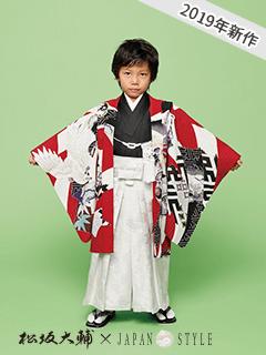 2019年新作 七五三レンタル男子着物 松坂大輔×JAPAN STYLE 赤に鶴の着物袴