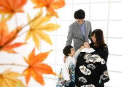 家族で七五三とお宮参りの記念写真 プレシュスタジオ府中店撮影