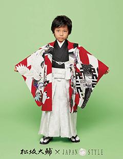 七五三レンタル男子着物 松坂大輔×JAPAN STYLE 赤に鶴の着物袴