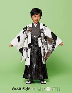 七五三レンタル男子着物 松坂大輔×JAPAN STYLE 白に黒の着物袴