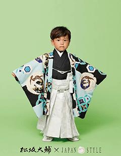七五三レンタル男子着物 松坂大輔×JAPAN STYLE 水色の着物袴