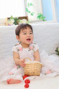 お花のドレスでお誕生日の記念写真