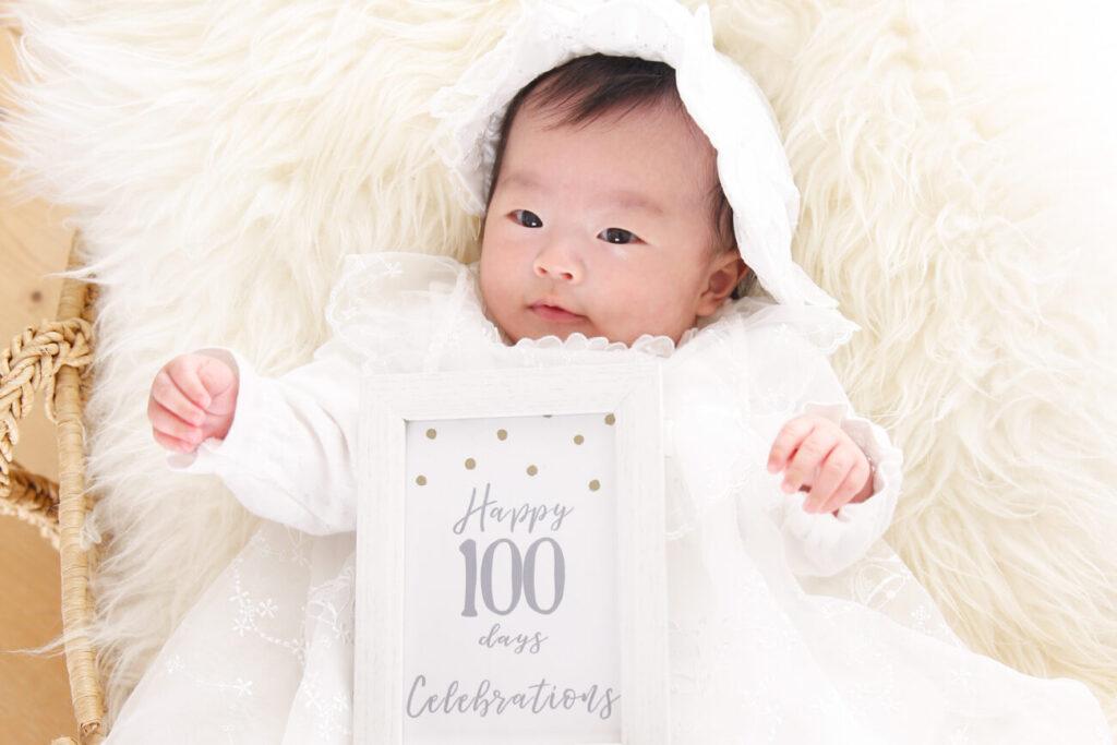 100日祝いの記念写真撮影