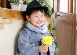 着物姿で七五三の記念写真撮影 男の子 撮影:プレシュスタジオ西宮夙川店
