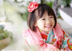 かわいい被布で3歳の七五三記念写真撮影
