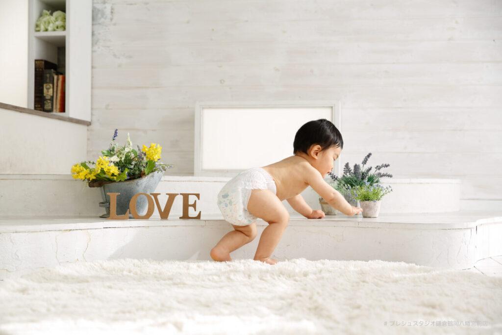 赤ちゃんの記念写真撮影