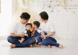 リンクコーデで家族写真