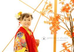 3歳のお誕生日と七五三記念写真 イエローの着物