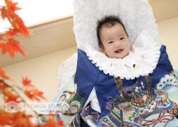 お宮参りの祝い着で記念写真撮影 プレシュスタジオ千葉駅前店