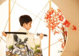 羽織袴で七五三の記念写真撮影
