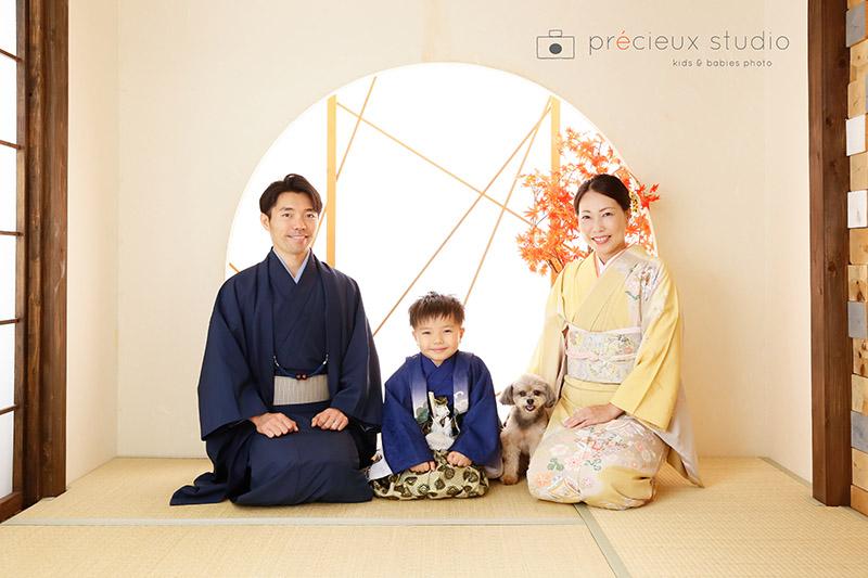 家族と愛犬揃って七五三記念写真 着物写真