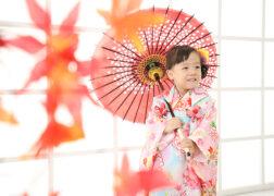3歳の七五三記念写真撮影 被布に和傘