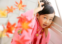 ピンクの被布で3歳の七五三記念写真撮影