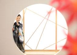 和風セットで5歳の七五三記念写真撮影