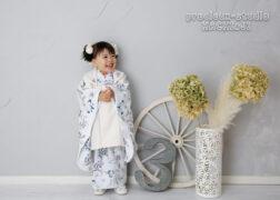 かわいいブランド着物で3歳の七五三記念写真撮影